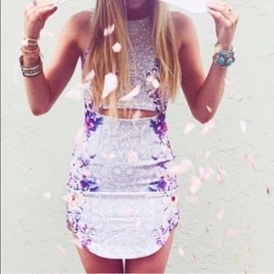 LF midi cutout bodycon floral dress